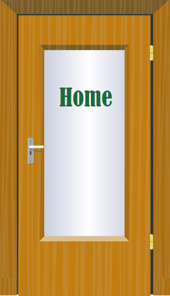 "Door Graphic with ""Home"" on door window.  Clicking will return to the LMS DEI home page"