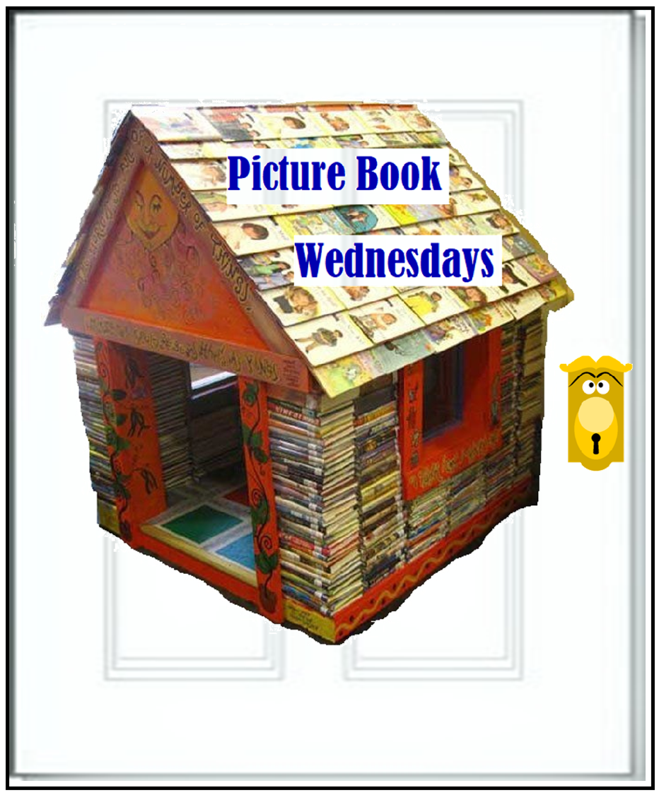 "Door graphic with house of books and ""Picture Book Wednesdays"" on roof. Clicking will navigate to the LMS DEI ""Picture Book Wednesdays"" page."
